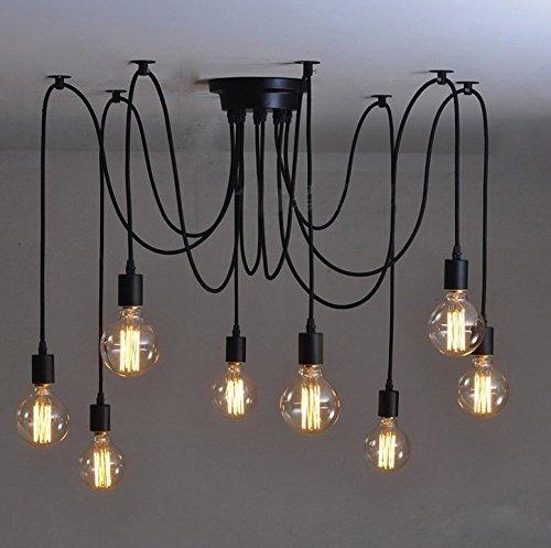 E27 Lampada Vintage Sospensione Lampadario per Soffitto Fai da te Lampadario da soffitto luci antico montaggio,8 Lampadina Base