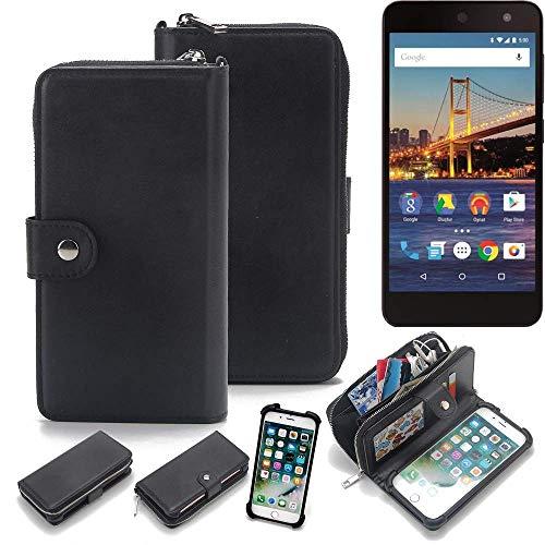 K-S-Trade 2in1 Handyhülle für General Mobile 4G Schutzhülle & Portemonnee Schutzhülle Tasche Handytasche Case Etui Geldbörse Wallet Bookstyle Hülle schwarz (1x)
