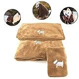 MonsterKill Weich Mikrofaser Haustier Hund Handtuch Anzug - 30x30cm & 34x80cm & 60x120cm:Superabsorbens - Schnell trocknend,3 in 1 (Braun)