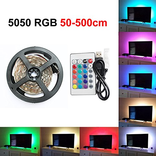 0.5M/1M/2M/3M/4M/5M USB RGB LED Stripe Lichterkette Leiste Streifen TV Hintergrundbeleuchtung + Fernbedienung, Multi Color Strip Light Night Time TV Backlight Lamp Kit Beleuchtung (50cm)