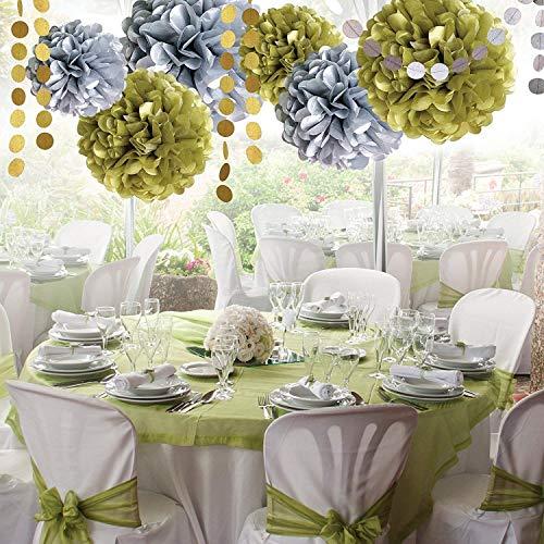 HaoCH Gold und Silber pom - Poms Blumen große + Gold Silber - Glitzer - Kreis Punkte - 8 pc hängen Gold Fluffy pom - Poms Papier - Dekoration Hat ()