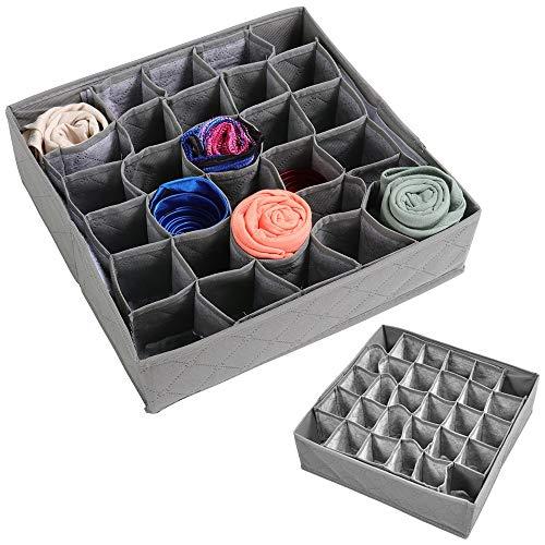x für Schubladen & Schränke, 30 Fächer, Grau, klappbar, für BHs, Socken, Krawatten, Unterwäsche ()