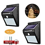 Solar Leuchte,Weyty 20 LED Solarlampe mit Bewegungsmelder,Kabelloses Energiesparende Wasserdichte Solarleuchten,Außen Solar Betriebene Außenleuchte, für Garten, Wände, Auffahrt, Hof, Garage, Weg und Patio-2Pack