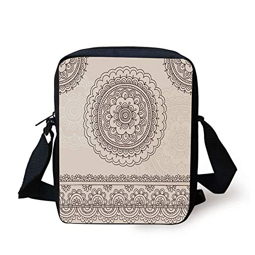 Henna,Floral Tattoo Design Inspirations from Asian Civilizations Doodle Style Soft Colored Decorative,Brown Cream Print Kids Crossbody Messenger Bag Purse -