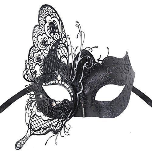 Venezianische Maske, Coofit Masquerade Maske Schmetterling Metall Maskenball Masken Venedig Maske Maskerade Maske Damen (Schwarzer Schmetterling Kostüme)