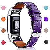 Hotodeal Fitbit Charge 2bande di ricambio, classico cinturino in pelle con connettori in metallo, ricarica 2fitness da polso, 9. Purple