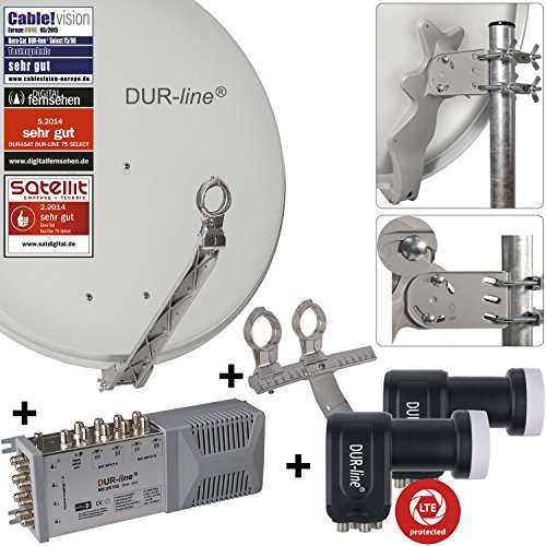 "DUR-line 8 Teilnehmer Set/2 Satelliten - Qualitäts-Alu-Sat-Anlage ""DVB-T2 Alternative"" ""DVB-T2 Alternative"" - Select 75/80cm Spiegel/Schüssel Hellgrau + DUR-line Multischalter + 2xLNB - Satelliten-Komplettanlage - für 8 Receiver/TV [Neuste Technik - DVB-S/S2, Full HD, 4K/UHD, 3D]"