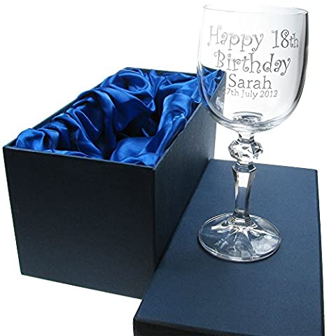Girl's 18th Birthday Gift, 24% Lead Crystal Engraved Wine Glass in a Satin Lined Presentation Box, 18th Birthday Gifts for