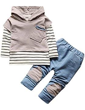 LCLrute New Mode Kleinkind Kinder Baby Mädchen Mädchen Outfits Kapuzenstreifen T-Shirt Tops + Hosen Kleider Set