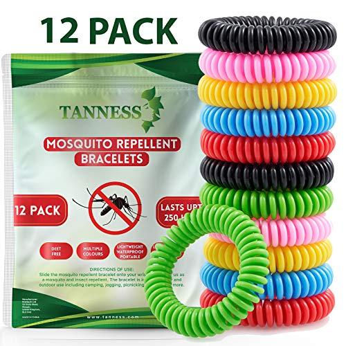 Tanness Mückenschutz Armband 12 Stück | für Kinder geeignet | Mückenarmband gegen Moskitos, Mücken und Insekten | Anti Mücken Mosquito Repellent mit Citronella |