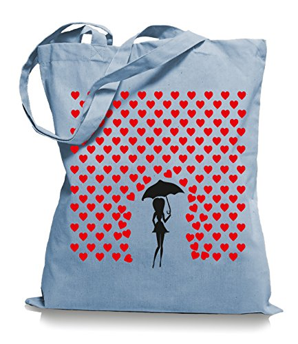 Ma2ca® Heart Rain - Jutebeutel Stoffbeutel Tragetasche/Bag WM101-skyblue