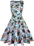 OWIN Women's Vintage 1950's Floral Spring Garden Picnic Dress Party Cocktail Dress (L, Blue&Pineapple)