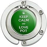 Keep Calm And Love Pot Marijuana Weed Foldable Table Bag Purse Caddy Handbag Hanger Holder Hook with Folding Compact Mirror