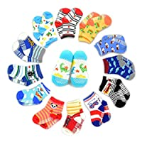 Yinitoo 12 pairs of non-slip socks for toddler socks, assorted children