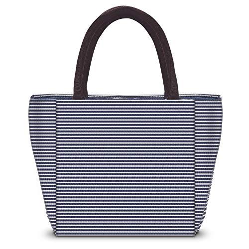 Runde Lunch Tasche, Isolierter Lunch Bag für Damen/Herren, Tote Lunch Tasche Kühltasche für Arbeit und Schule von SKYNEW, Blaue und weiße Streifen (Taschen Für Arbeit Halloween Die)