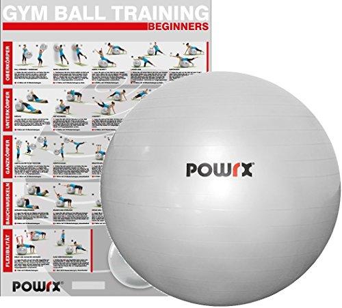 POWRX Gymnastikball inkl. Pumpe | 45cm 55cm 65cm 75cm 85cm 95cm | robuster Sitzball / Fitnessball silber | 150kg Maximalbelastbarkeit (85 cm) (Ball-sitz-sitz)