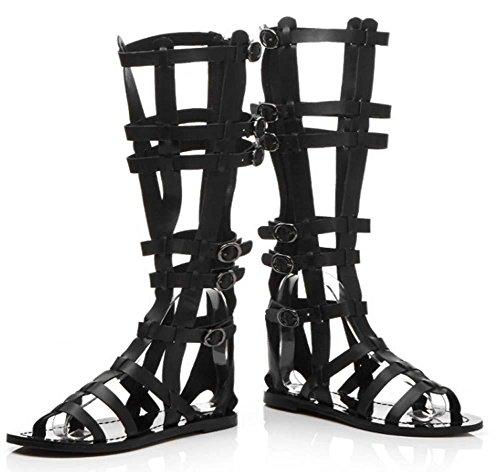Nuovi sandali per le donne Round Toe Roman Open-Toe Hollow Flip Flop Black