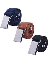 Toddler Boy Kids Buckle Belt - Adjustable Elastic Child Silver Buckle Belts for Girls, 3 Pieces