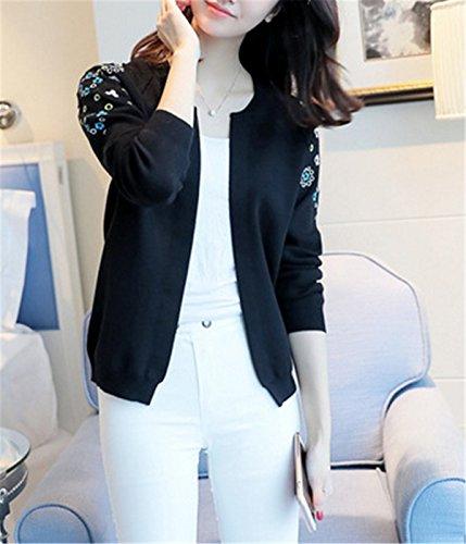 SANKU Femmes Casual Longue Manche Longue Gilet Tricot Chandail Cardigans Pull Sweaters Manteau Coat Bonnetterie Veste Outwear Cape Hiver Noir