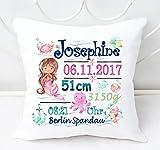 Kissen mit Namen, Geschenk zur Geburt, Babygeschenk für Mädchen, Jungen, mit Geburtsdaten (Meerjungfrau, Pink, Blau, Türkis, Braune Haare)