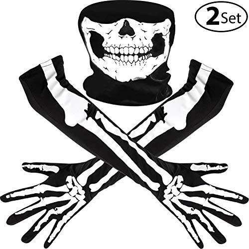 Tanz Kostüm Halloween - Weiße Skeletthandschuhe und Schädelgesichtsmaske Halb Geist Knochen Cosplay Kostüme für Erwachsene Halloween Tanz Kostüm Party (2 Set, Stil A)