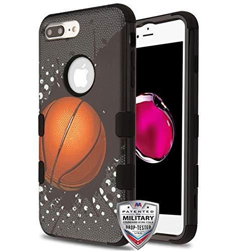 Rubber Case Cover Faceplate (Case+ Tempered_Glass + Stylus, TUFF Hybrid-Schutzabdeckung für Apple iPhone 7 Plus/8 Plus MYBAT Slam Dunk/Black Basketball Sports Collection)