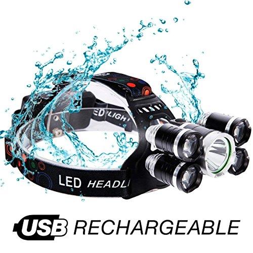 LED Kopflampe, LED Stirnlampe, LED Headlight, 5 LED 8000 Lumen Superhell mit Rote Warnleuchten, 4 Modi Wasserdicht USB Wiederaufladbare Kopfleuchten für Camping, Angeln, Wandern, Radfahren