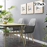 Ambiendi 2er Set Wohnzimmerstuhl Esszimmerstuhle Bürostuhl Eleganter Stoffbezug und Naturholz-Beinen Grau