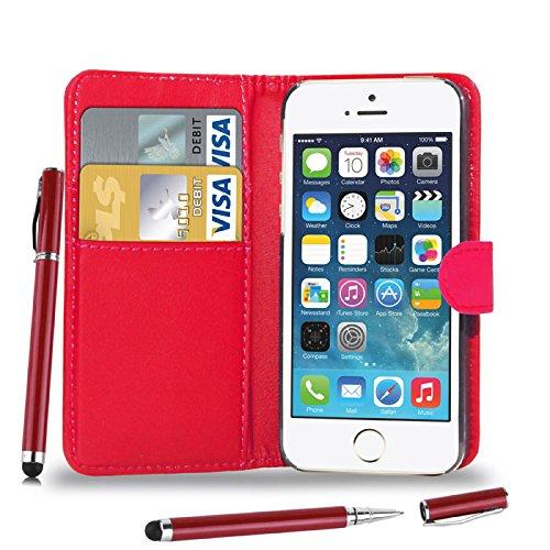 Apple iPhone 5S/5 - Leder Brieftasche Tasche Buch + 2 in 1 Stylus Pen + Screen Protector & Poliertuch ( White ) Red
