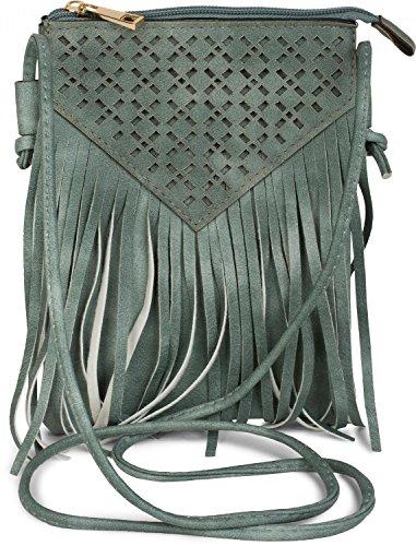 styleBREAKER Minibag Umhängetasche mit Cutout Muster und Fransen im coolen Ethno Style, Schultertasche, Tasche, Damen 02012126, Farbe:Camel Jadegrün