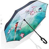PW Las Manos Creativas Reversas Dobles del Paraguas Liberan El Paraguas Recto Reversible De La Sombrilla
