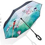 PW Parapluie Inversé Automatique Double Mains Créatives Pluie Ensoleillée Extérieure Pare-Soleil Parasol Direct Parapluie