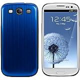 kwmobile Couvercle de la batterie en aluminium brossé pour le Samsung Galaxy S3 / S3 Neo bleu