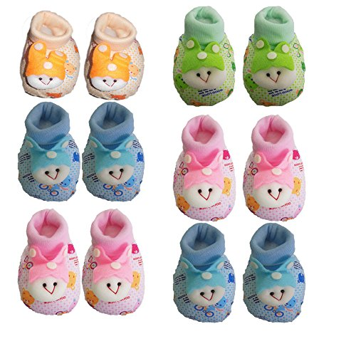 Mahi Fashion Baby Booties Combo of 6 (Made in Thailand)(Age 3 - 9 Months)
