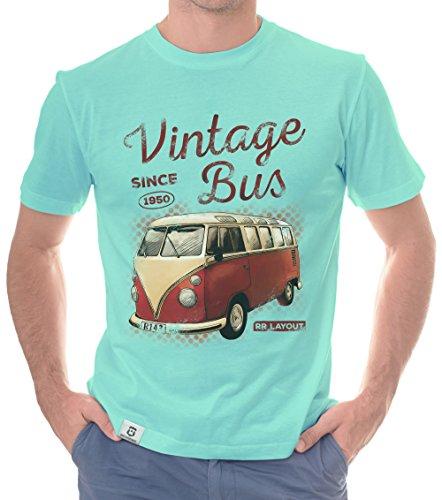 Herren T-Shirt - Vintage Bus - Since 1950 (M, Türkis-Rot)