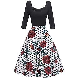 Misshow Robe de Soirée Vintage Femme Mi Longue Manche 3/4 Robe Femme Rockabilly Pin up Imprimé Florale S