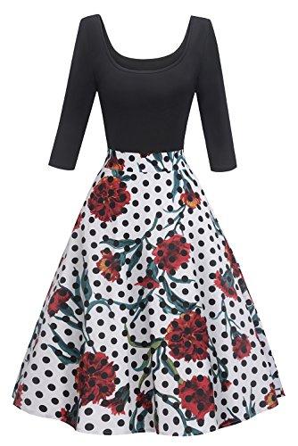 MisShow Robe Femme Gala Robe de Soirée Femme Mi Longue Mariage Manche 3/4 Style Vintage Rétro Swing Pin up 2XL