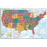 iPosters - Carte Plastifiée Poster Mural des Etats Unis d'Amérique USA - 91,5 x 61cm