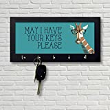 #6: Nutcase Wooden Key Holder Hanger for Wall - Designer Key Chain Hanging Board Box - 5 Hooks Wall Mounted Key Rack - Screws Included