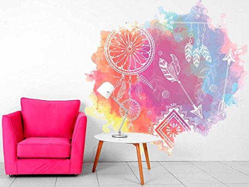 Vinilo decorativo pared Espiritual Atrapasueños Colores | Varias Medidas 120x120cm | Multicolor | Pegatina Adhesiva Decorativa de Diseño Elegante