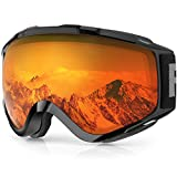 findway Skibrille, Snowboard Brille für Brillenträger Herren Damen Erwachsene Jugendliche OTG UV-Schutz Kompatibler Helm Anti Fog Skibrillen Sphärisch Verspiegelt (Orange/Schwarz (VLT 55.76%))
