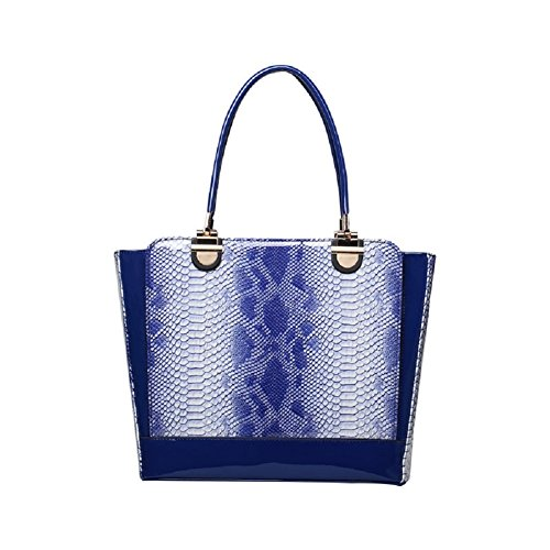 WTUS Damen Neuen Tragbare Mode-Handtaschen Lackleder Hohle Gezeiten Frau Tasche Handtasche Schultertasche Beuteltote Blau