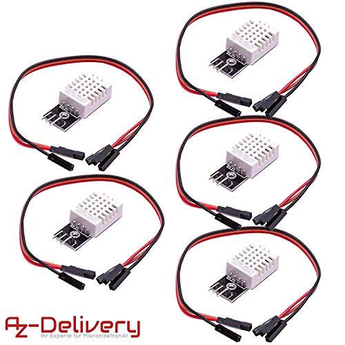 AZDelivery 5 x DHT 22 AM2302 Sensor de Temperatura y Humedad con Placa y Cable para Arduino y Raspberry...