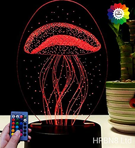 Ilusión Optica 3D Medusa Luz Nocturna Led Lámpara