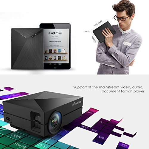 ELEPHAS Full Color 130  Portable LED Pico Projector with HDMI cable for Home Entertainment  Party and Games  Black