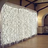 OMGAI Cortina de ventana Icicle String luces de 300LED para Navidad Navidad Fiesta de bodas Decoración para el hogar Decoración para el hogar Decoración para el hogar 3m * 3m (Blanco) (Bajo voltaje mejorado) [Clase Energética A +++]