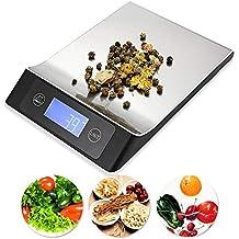 ROTIHYDA Báscula Balanza de cocina digital de 15KG / 1G portátil de acero inoxidable con LCD