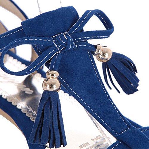 Odomolor Donna Puro Tacco Basso Punta Aperta Pelle Di Mucca Fibbia Heeled-Sandals Azzurro