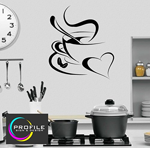 Kaffee Tee Heiße Schokolade Cup Selbstklebendes Wand Aufkleber Größe 570x 640mm, Made by Profil Schilder