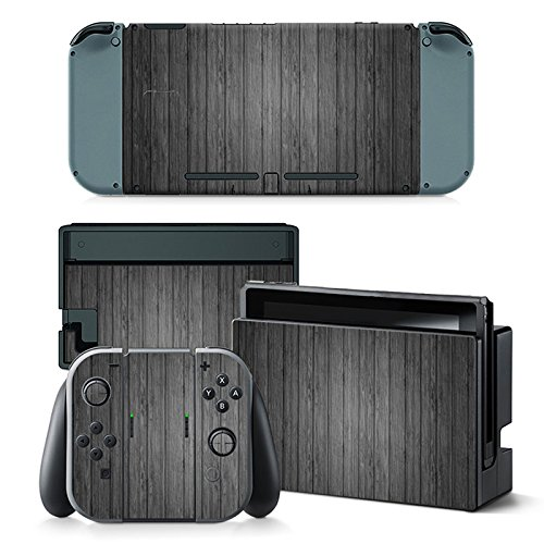 Mcbazel Anti-Scratch Decal Vinyl Aufkleber, Decals Aufkleber Full Set Faceplate Skin, Pattern Series Skin Cover für Nintendo Switch Console & Joy-Con Controller & Dock Protection Kit-Holz Series Screen Protector Kit
